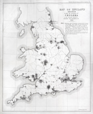 Prevalence of cholera in different English districts during the 1849 epidemic.