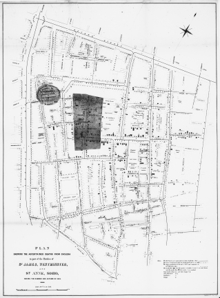 Locations of deaths from cholera around the St James area of London during the 1854 epidemic.