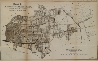 """Map of the London parish of Bethnal Green showing the """"cholera mist"""" in 1848–9."""