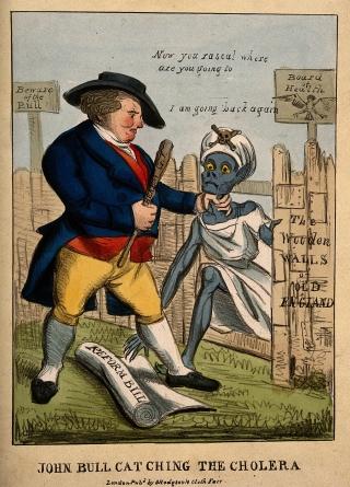 V0011353 John Bull defending Britain against the invasion of