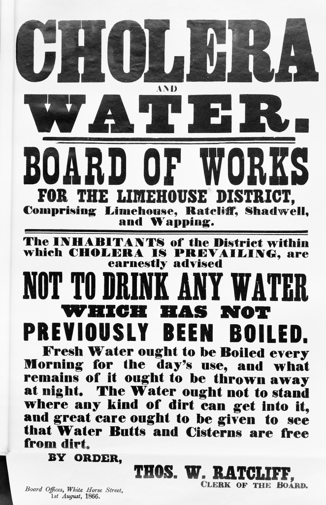 L0025760 Broadsheet: Cholera and Water, 1866