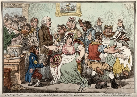 Edward Jenner vaccinating patients, who develop features of cows, James Gillray, 1802.