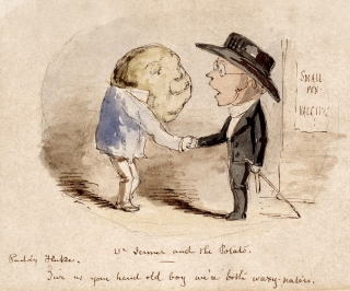 A potato shaking hands with Edward Jenner and claiming him as a fellow vaccinator, John Leech, 1800s.