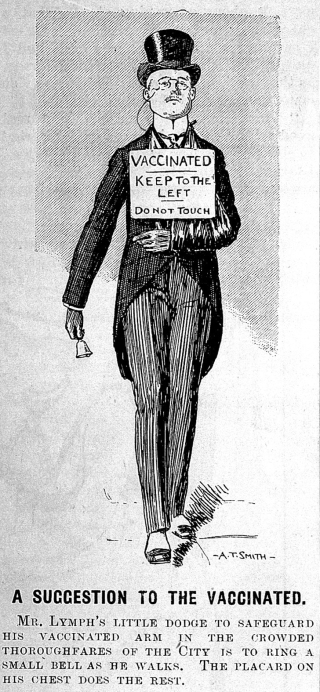 """""""A suggestion to the vaccinated"""" cartoon, Punch, 1901."""