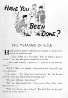 "Leaflet stating BCG is ""the new stuff they inject you with to stop you getting TB"", 1930s."