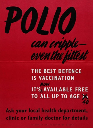 """British Ministry of Health poster stating """"the best defence"""" against polio """"is vaccination"""", around 1940."""