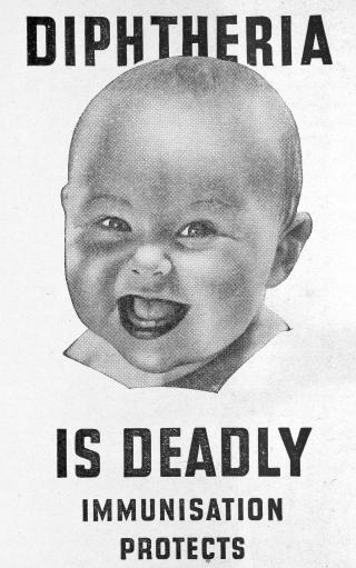 Health Visitors Association leaflet promoting immunisation against diphtheria, 1945.