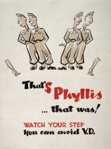 Poster warning of the dangers of syphilis aimed at Allied troops in Italy, 1943.