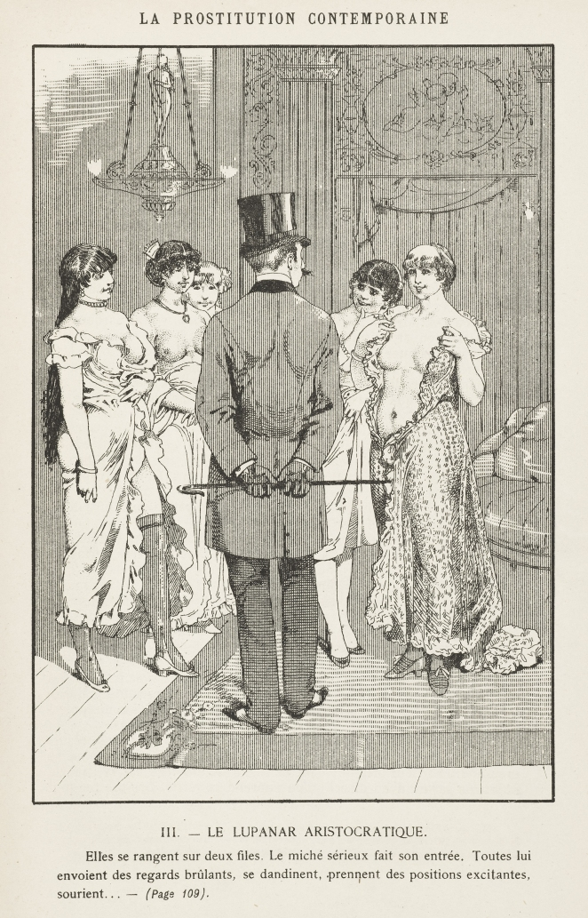 L0049215 A well-dressed client inspects the prostitutes at a brothel