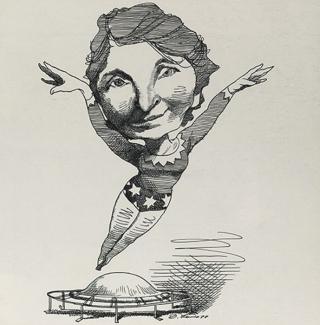 Margaret Sanger drawn as Wonder woman by cartoonist David Levine (1978).
